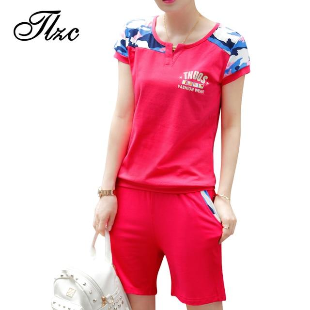 73af319a8b TLZC Street Style Lady Fashion Tracksuit 2 Piece Suit Set T-shirt + Shorts  Plus