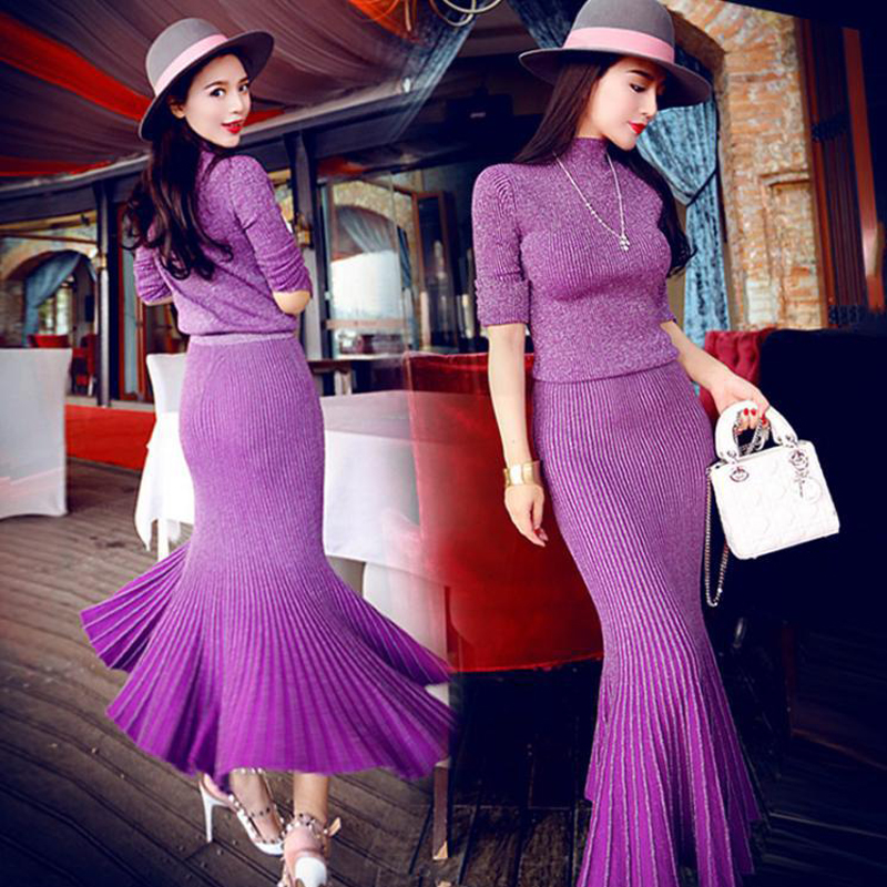 2018 spring and autumn new women's Slim long sleeved sweater split + package hip fish tail skirt fashion two piece