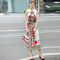 Hot Summer Runway Designer Women Italian Style Sleeveless Plus Size Tank Slit Dress Character Printing High Quality Dress