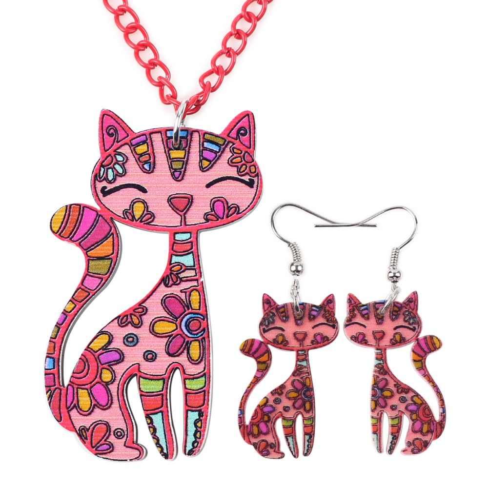 Bonsny Thương Hiệu Acrylic Tuyên Bố Mèo Bông Tai Vòng Cổ Trang Sức Thiết Choker Cổ Trang Sức Thời Trang 2016 Tin Tức Cho Phụ Nữ Cô Gái Quà Tặng