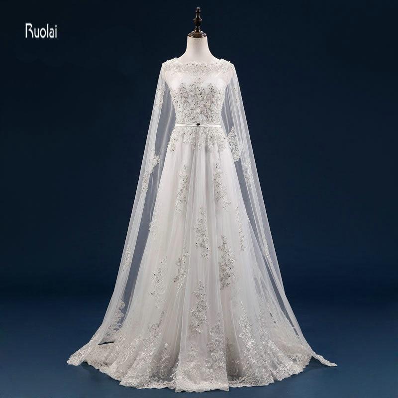 Vestido De Noiva Personalizat Mărgești Aplicații cu maneci lungi - Rochii de mireasa - Fotografie 1