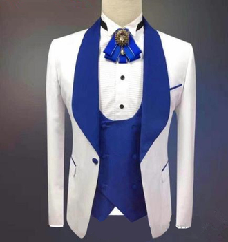 2019 New Arrival White One Button Groomsmen Royal Blue Shawl Lapel Groom Tuxedos Men Suits For Wedding/Prom Best Man Blazer
