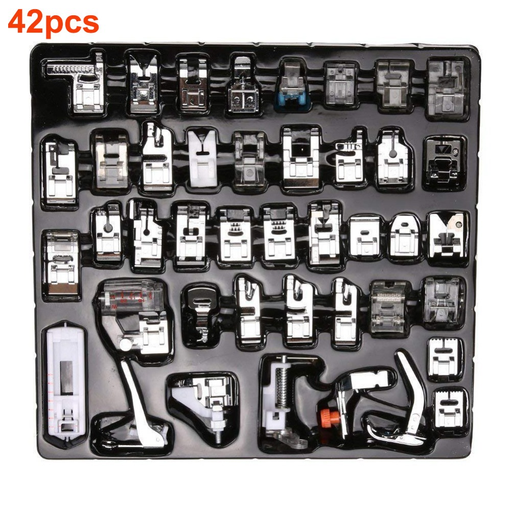 32/42pcs Domestic Sewing Tool Machine Presser Foot Feet Kit Set + Box Brother Singer Janom Sewing Machines Foot Tool Accessories