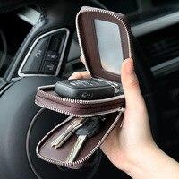 Williampolo Genuine Leather Men Car Key Wallets Chain Covers Zipper Key Case Bag Fashion Vintage Housekeeper Holders 2 Key Rings