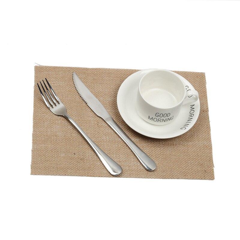 100 pièces Folk Napperons Tapis de Cuisine 12x17 21x29 cm Jute Lin Serviette De Table pour Café Thé Coussins Décor À La Maison Accessoires
