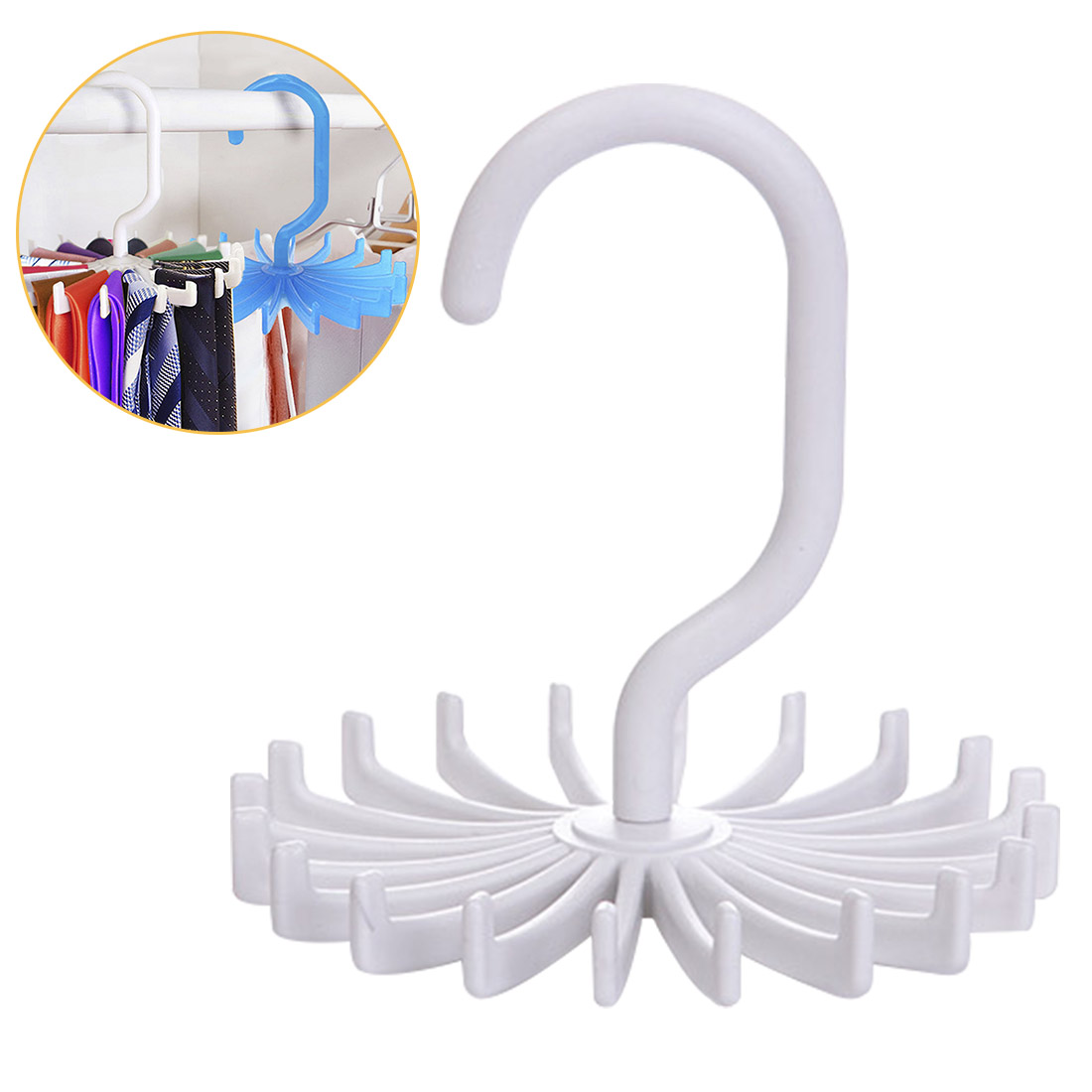 Poratable Tie Rack For Closet Rotating Ties Hook Holder For Clothing Organizer