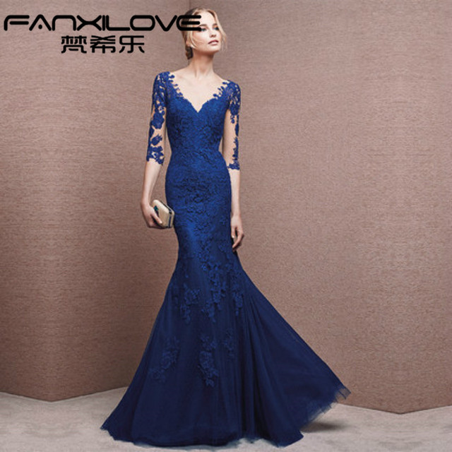 Fanxilove Royal Blue Mermaid Evening Dresses 2016 V-neck Sexy Apps 3 4  Sleeve Lace Formal Dresses Mother of the Bride Dresses 1296d205aef7
