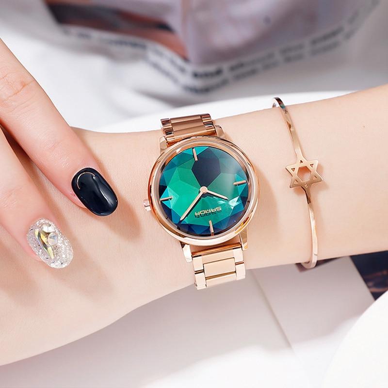 2019 Rose Gold Women Watches Luxury Brand Bracelet Quartz Ladies Watch Stainless Steel Female Wristwatch Clock relogio feminino