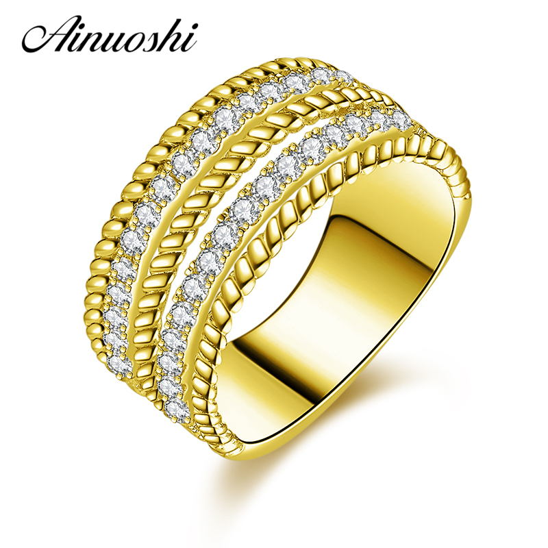 AINUOSHI 10K Solid Yellow Gold Engagement Rings 2 Rows Drill SONA Simulated Diamond Wide Design Band Lovers Anniversary RingAINUOSHI 10K Solid Yellow Gold Engagement Rings 2 Rows Drill SONA Simulated Diamond Wide Design Band Lovers Anniversary Ring