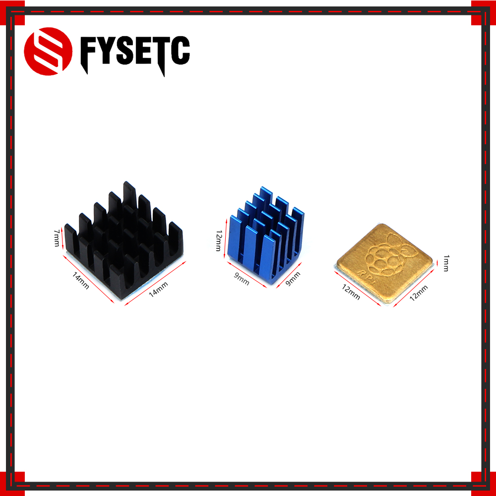 1Set Blue Heatsink Cooler Pure Aluminum Copper Heat Sink Set Kit Radiator For Raspberry Pi 3 Model B / B Plus 3D Printer Parts