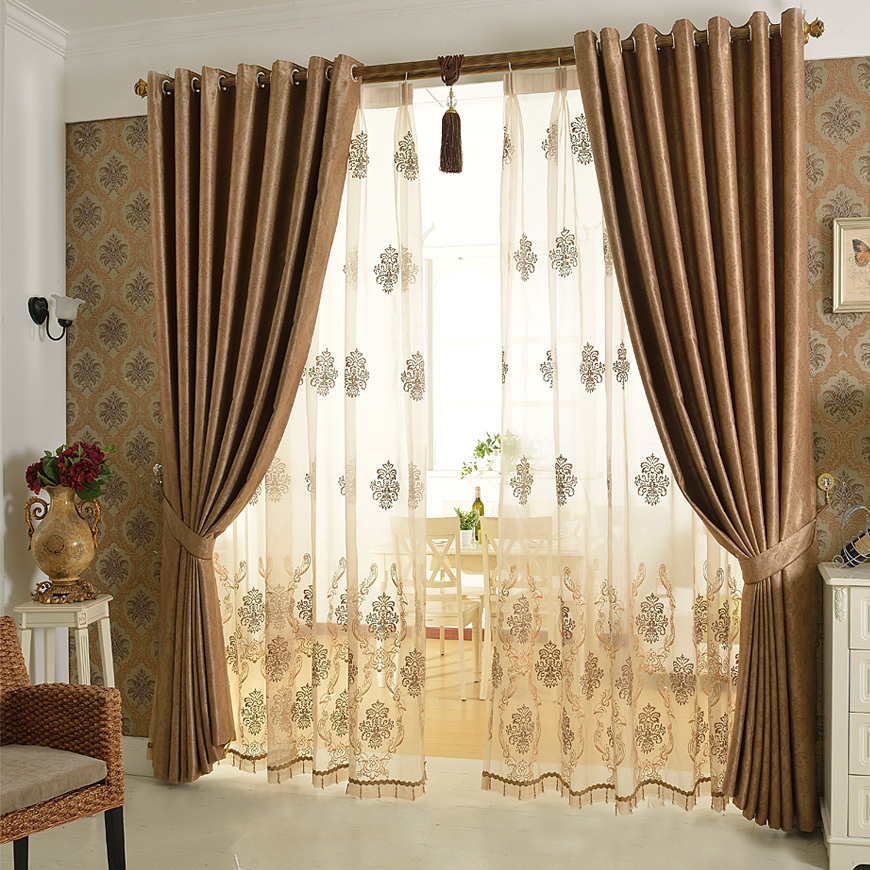 European luxury curtain cortina windows screening bedroom for Curtain design for living room