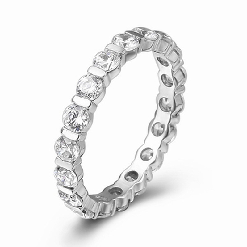 certified pure 18k white gold natural diamond wedding band rings for women engagement 06ct vs - Engagement Vs Wedding Ring