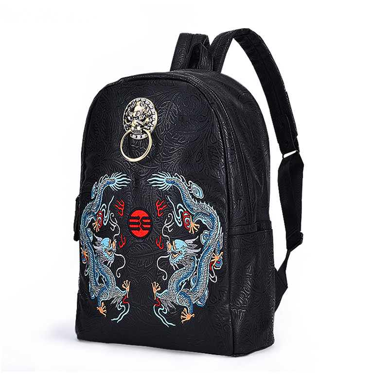 Chinese Style Famous Brand Men Backpack Embroidery Dragon Luxury Large Travel Backpacks Laptop Bagpack