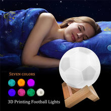 3D Football Night Light Soccer Desk Lamp Illusion Lamps 7 Colors USB Chrage Table Lamp For Christmas Club Decor Football Fans(China)