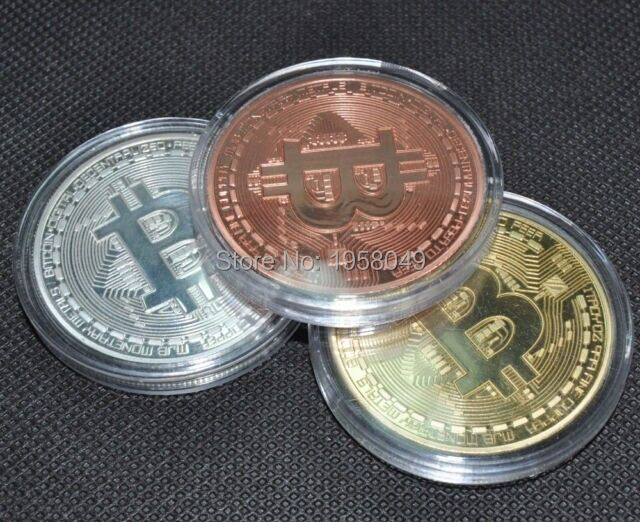 Sample order!Mix3pcs/lot /$8.99 Gold Plated and Copper and Silver plated 1oz Bitcoin coin Casascius BTC 1 Physical Bit Coins