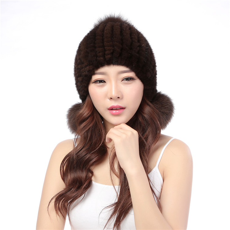 Mink knitted hat female fox fur ball winter thermal 21 year old ear protector cap mink fur hat