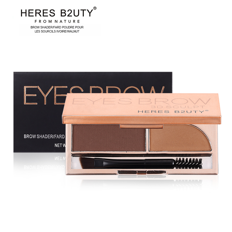 Brand NEW HOT-SELL HERES B2UTY Professional Eyebrow Powder Brown and Grey 2 color Palette WIth Oblique Head Spiral Brush