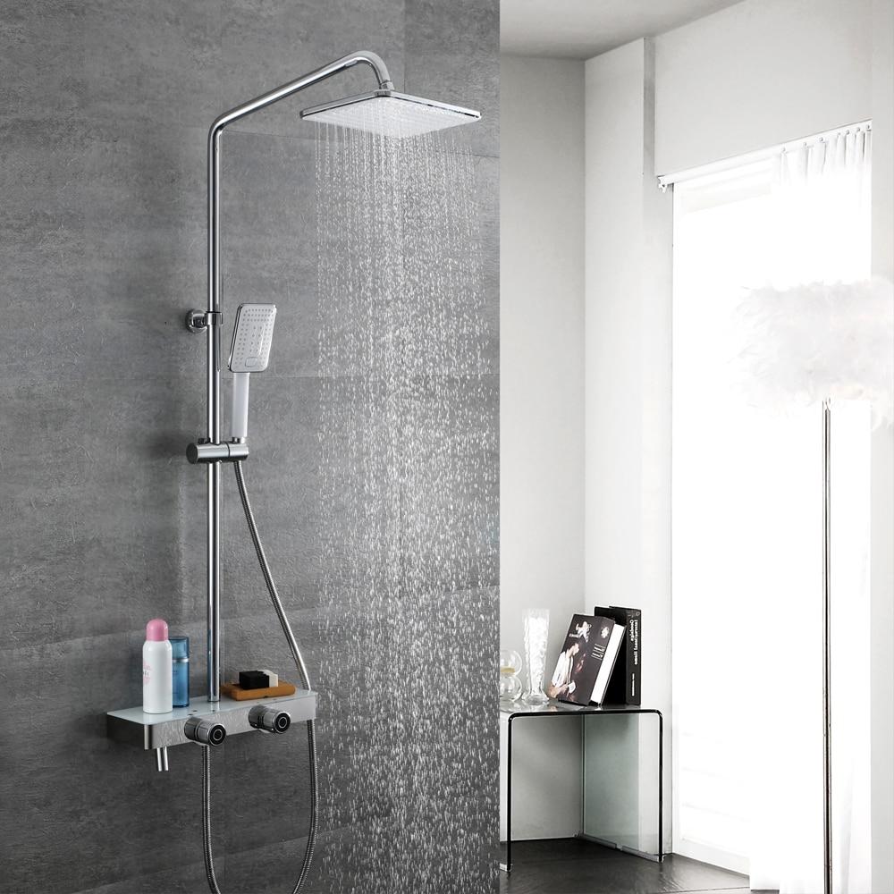 HIDEEP Bathroom Rainfall Chrome Bathroom Mixer Shower Faucet Set Handles Wall Mount Bath Shower Kit For Family Bathroom