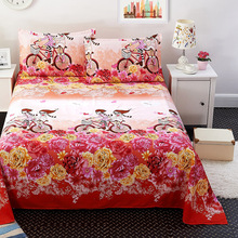 Простыня для постельного белья из хлопка, домашняя текстильная печать, плоские простыни из чесаного хлопка, простыня + 1/2 Бесплатная наволочка 74*48 см