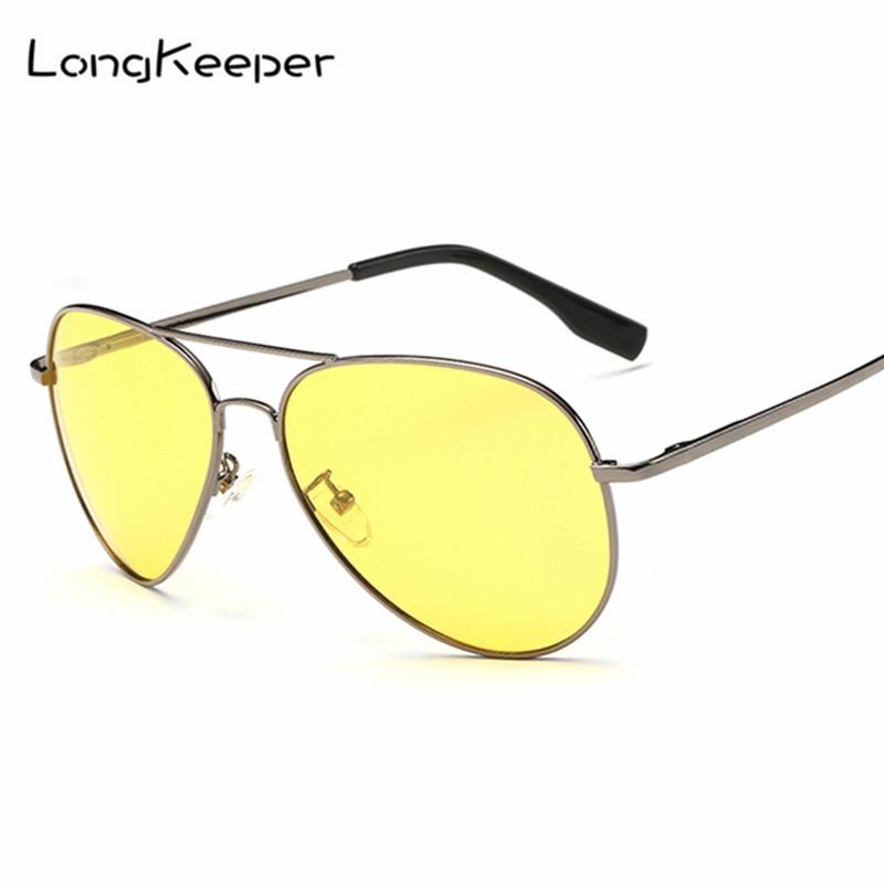 LongKeeper Driver Glasses Night Driving Sunglasses Men Women Metal Alloy Pilot Sun Glass Male Vision Goggle Eyewares