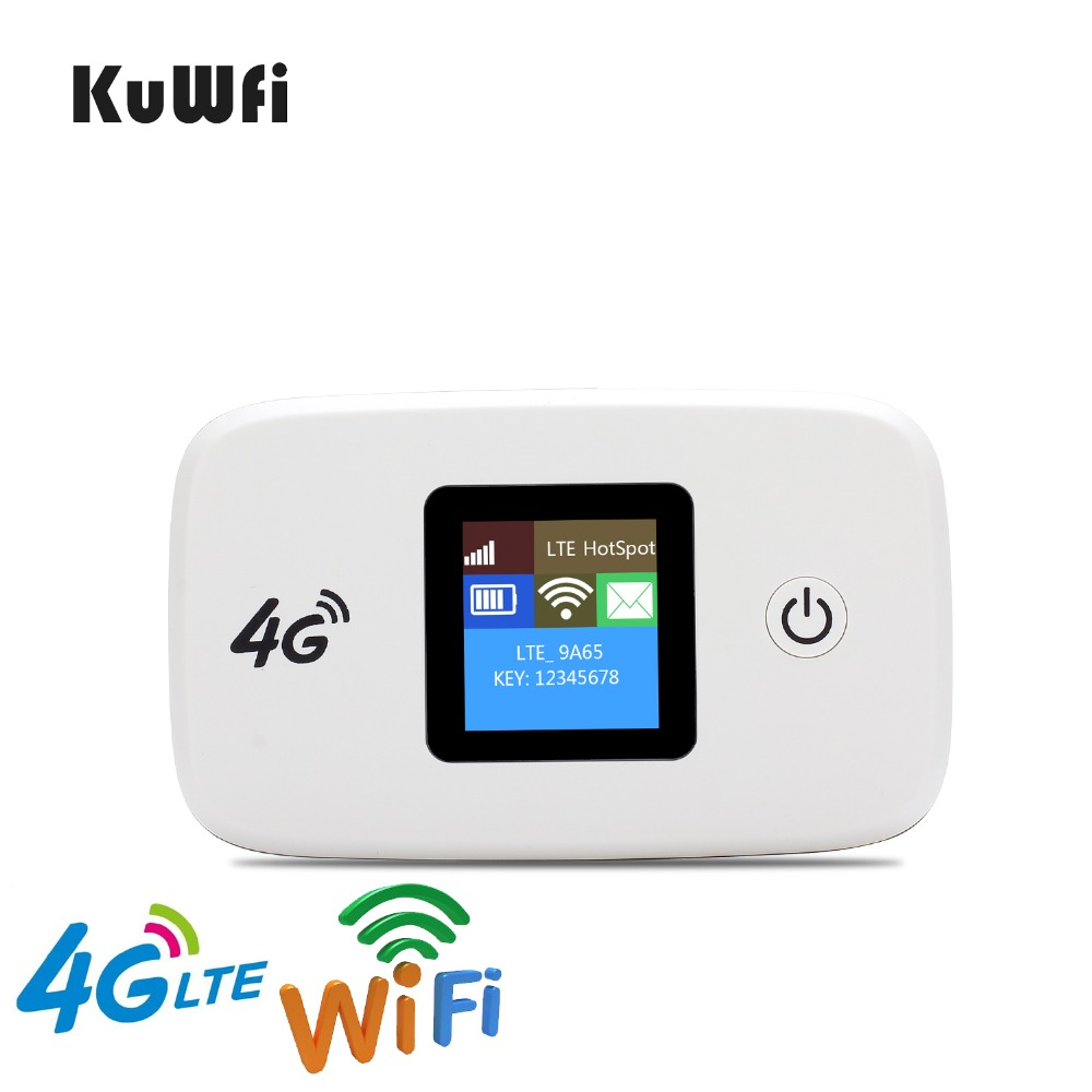 KuWfi Unlocked 100Mbps 3G 4G LTE Wifi Router Mobile Wifi Hotspot 2400mAH Battery With SIM Card Slot LCD Display Up To 10 Users 4g wifi router unlocked 3g 4g lte travel router 5200mah power bank fdd lte car wifi router with sim card slot up to 10 users