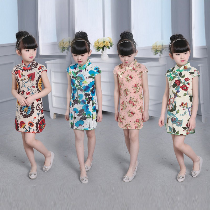 2018 New Year Chinese Girl Dress Children Dress Qipao Chi-Pao Cheongsam Gift Clothes Children Clothing Girl Floral Newest 2017new chinese traditional baby girls chi pao cheongsam red dress new year gift children clothes kids embroidery party dresses