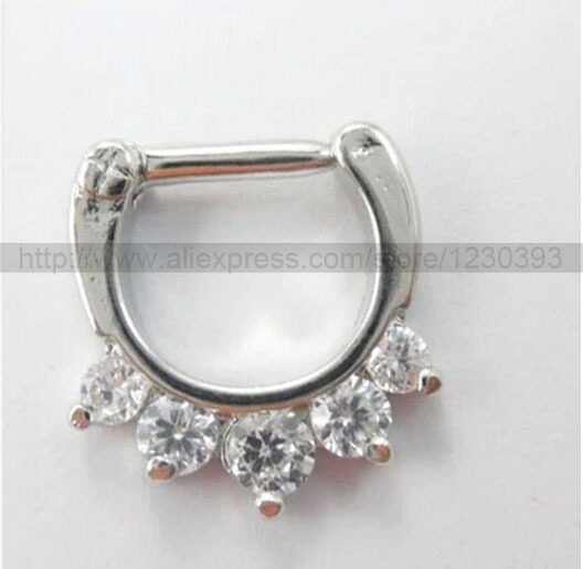 Hot Unique 316L Surgical Steel Aztec Septum Clicker Nose Ring Stud Nose Piercing Stud White Purple