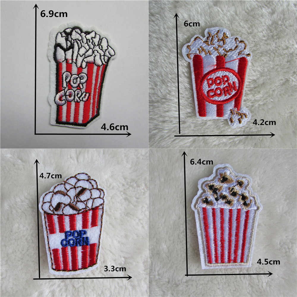 4PCS French Fries Popcorn Embroidered iron on patches Food badges hat bag thermo-stickers Applique applications for clothes DIY