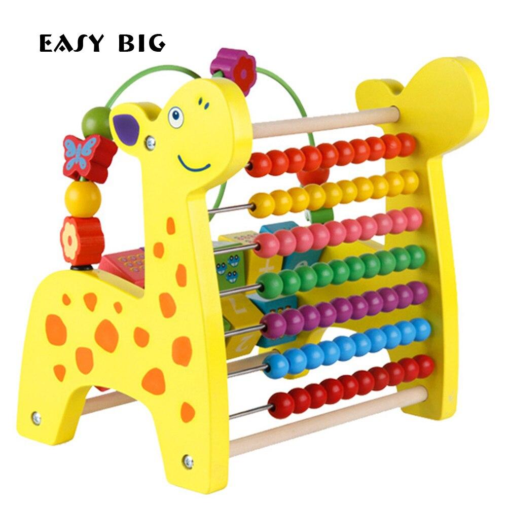 Facile gros jouets mathématiques unisexe pour enfants enfants Montessori éducatifs en bois boulier jouets avec Instrument de musique TH0015
