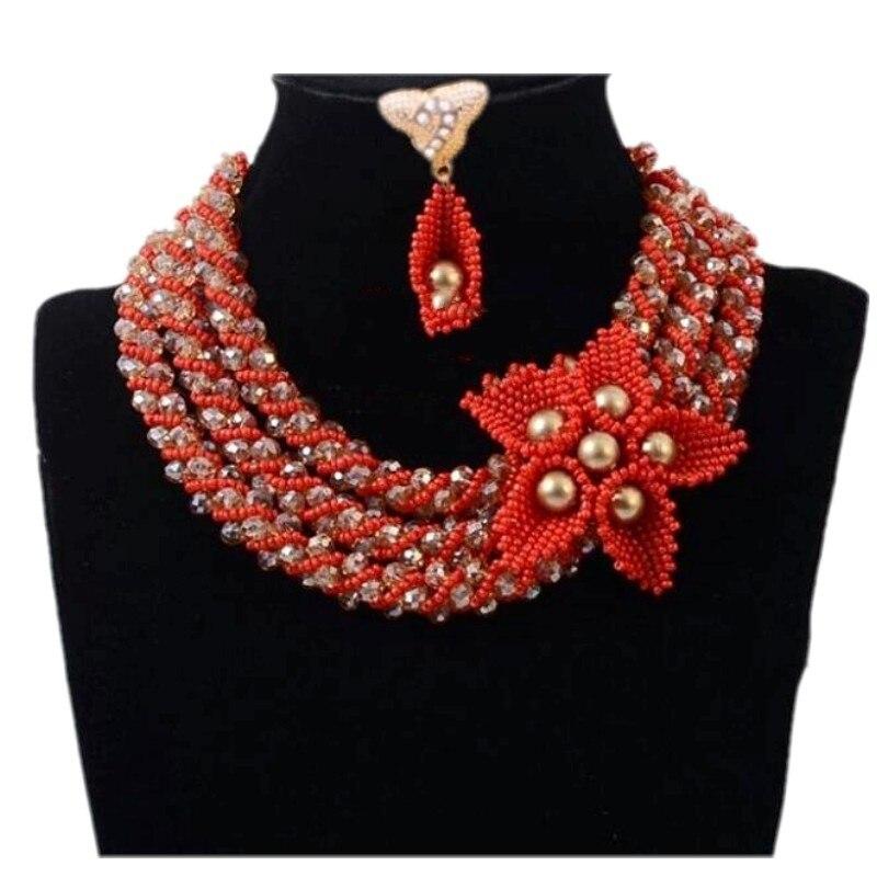 4 bijoux Dubai ensembles de bijoux or Champagne et fleurs rouges ensemble de bijoux africains mariage nigérian ensemble de bijoux de mariée