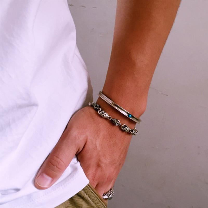 ZABRA De Luxe 925 Argent Bracelets Hommes Vintage Punk Couronne - Bijoux - Photo 5