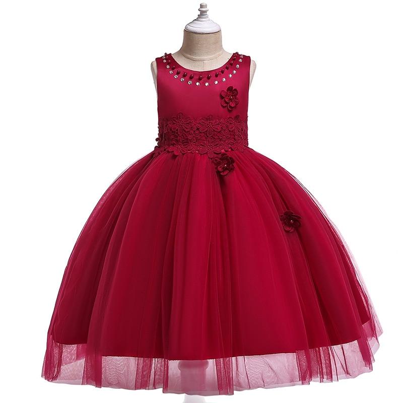 Girls party princess dress children formal bridesmaid wedding birthday Christmas red / purple