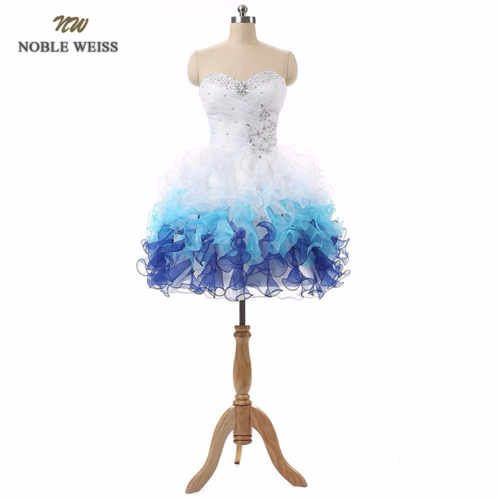 NOBLE WEISS In Stock Real Picture Organza Sweetheart with Sequins and Beads Lace up Back Short   Prom     Dresses