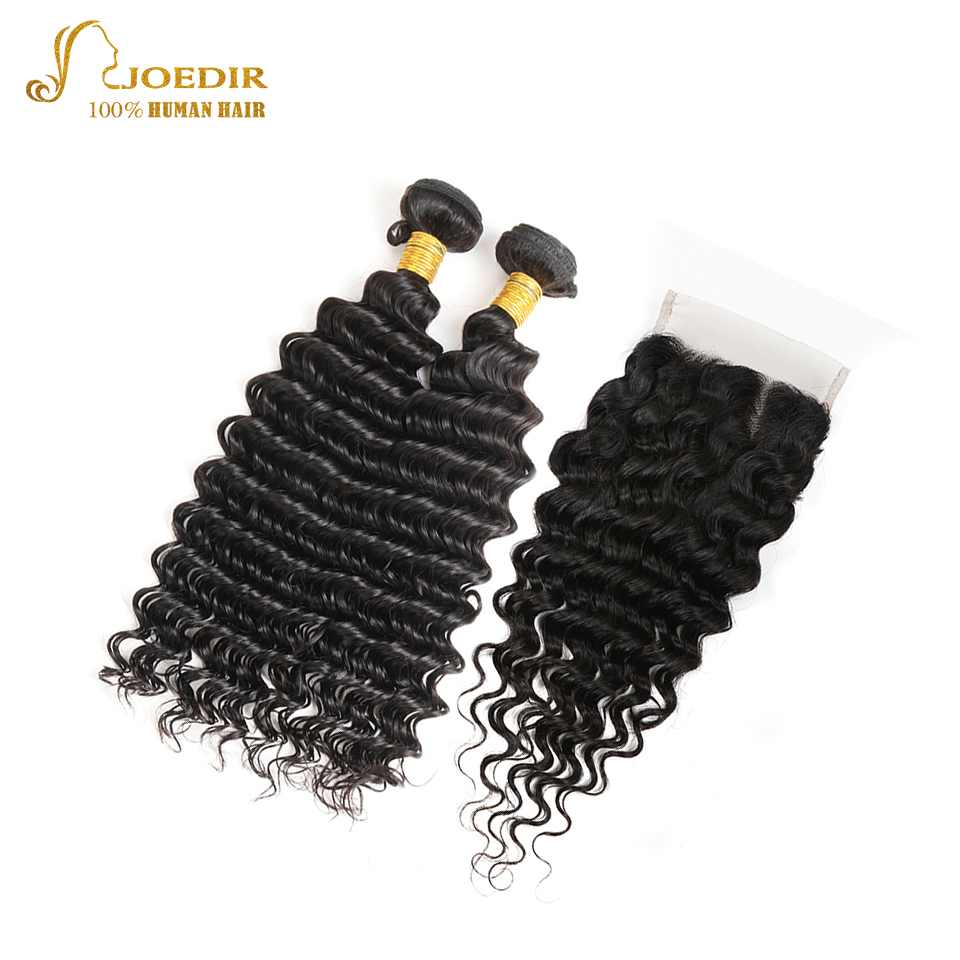 Joedir Indian Deep Wave None Remy Human Hair 4x4 Lace Frontal Closure With 2 Bundles Salon Bundles Hair With 4X4 Remy Closure