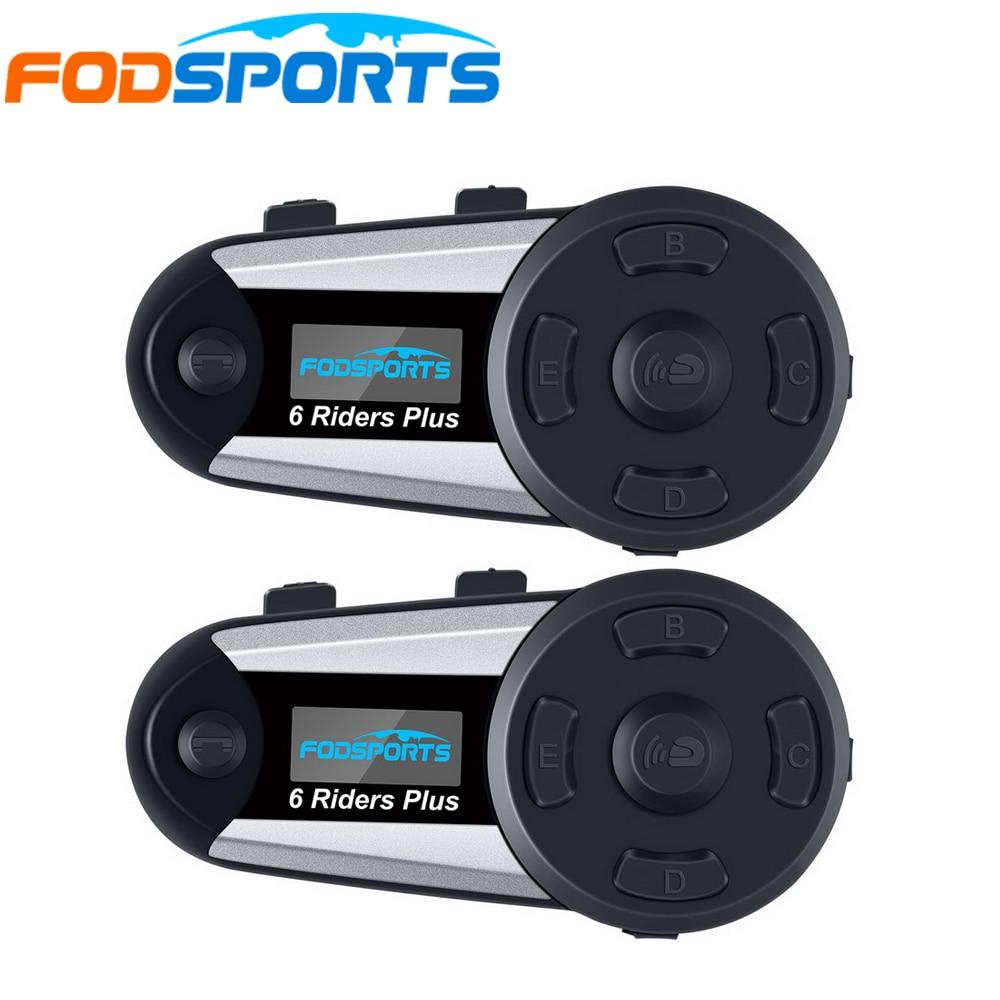 2 pcs V6 Plus 6 Riders 1200m Bluetooth Intercom Headset Wireless Intercomunicador Interphone BT Full Duplex