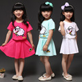 Chinoiserie cartoon sheep short sleeve cotton summer princess clothing set for baby girl skirt and shirt suit pattern 2 pcs set