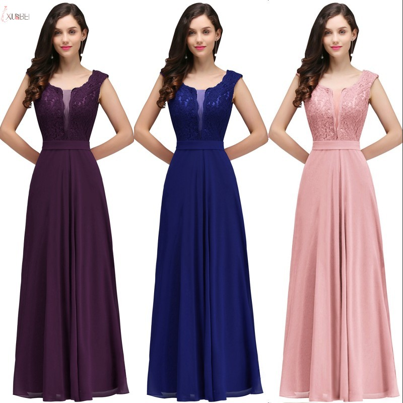 2019 Elegant Pink Purple Royal Blue Burgundy Navy Long   Bridesmaid     Dresses   Chiffon Sleeveless Wedding Party Guest   Dress