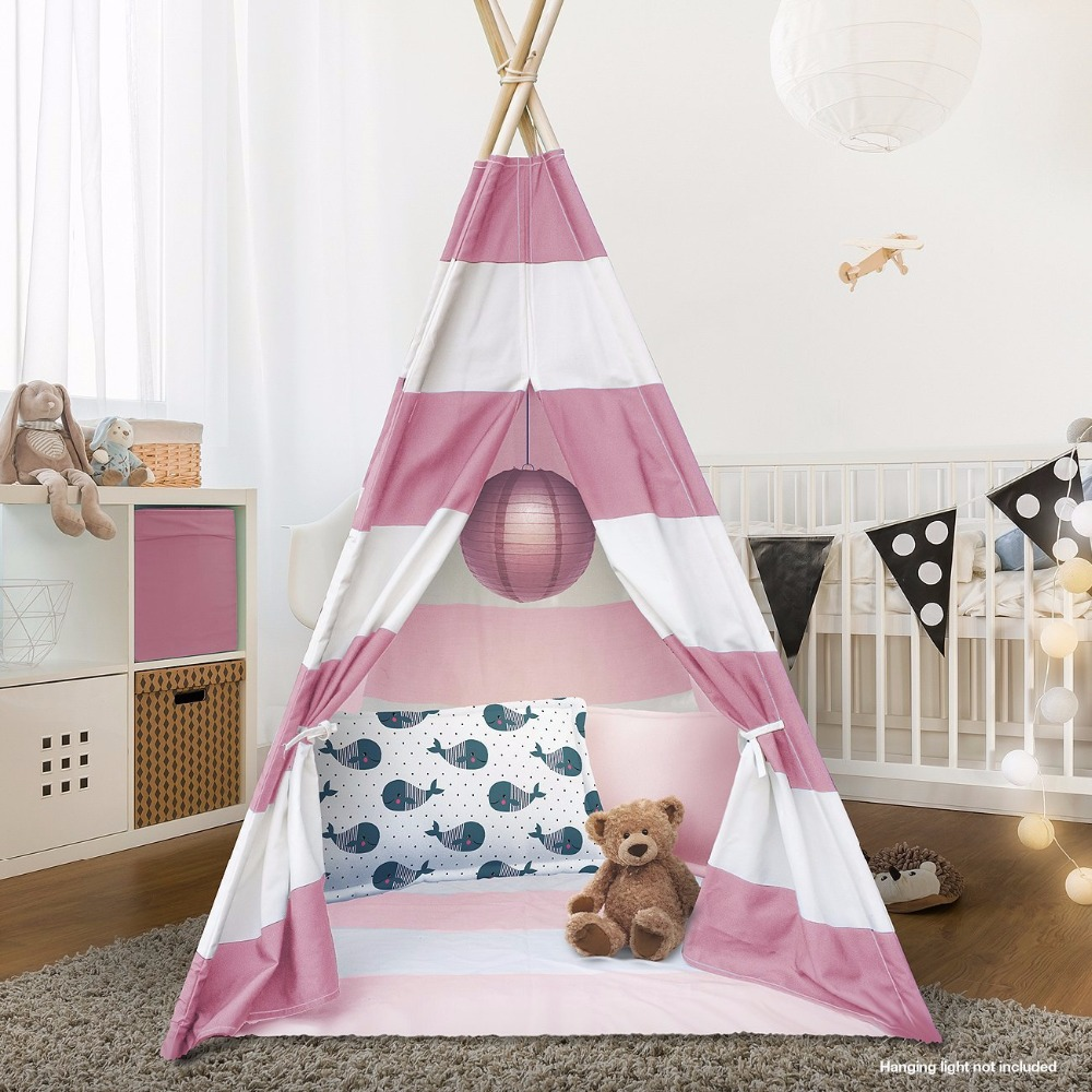 Pink Striped Teepee Children Play Tent Teepee Tipi Kids Wigwam Tent pink clouds teepee tent indoor childrens play tipi
