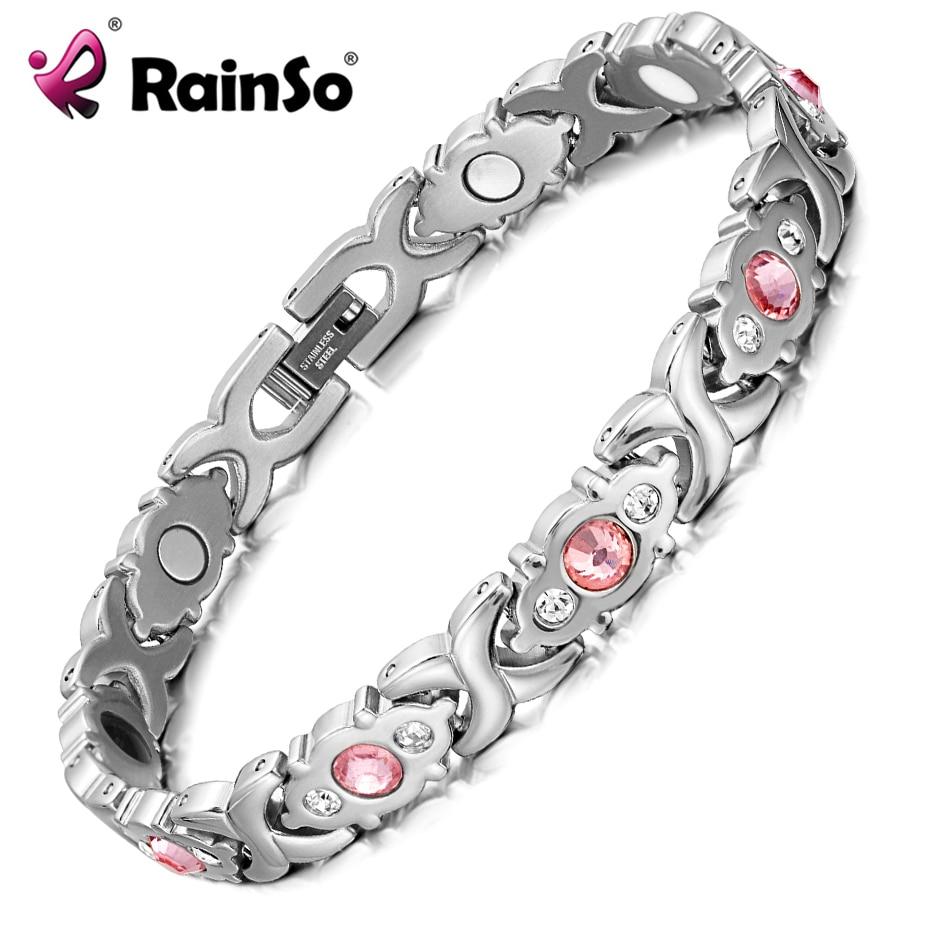RainSo Weibliche Armband Shiny kristall Edelstahl Mode Gesundheit Schmuck Magnetische Hologramm Armband Charme Kette & Link Armreif