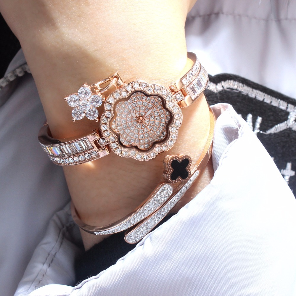 Rinnady famous brand Luxury women rhinestone watch diamond women dress watch ladies Flowers Bracelet Relojes Mujer Montre Femme kingsky brand fashion ladies luxury rectangle quartz wristwatches women famous brand rhinestone watch relojes mujer montre femme