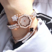 Rinnady famous brand Luxury women rhinestone watch diamond women dress watch ladies Flowers Bracelet Relojes Mujer Montre Femme