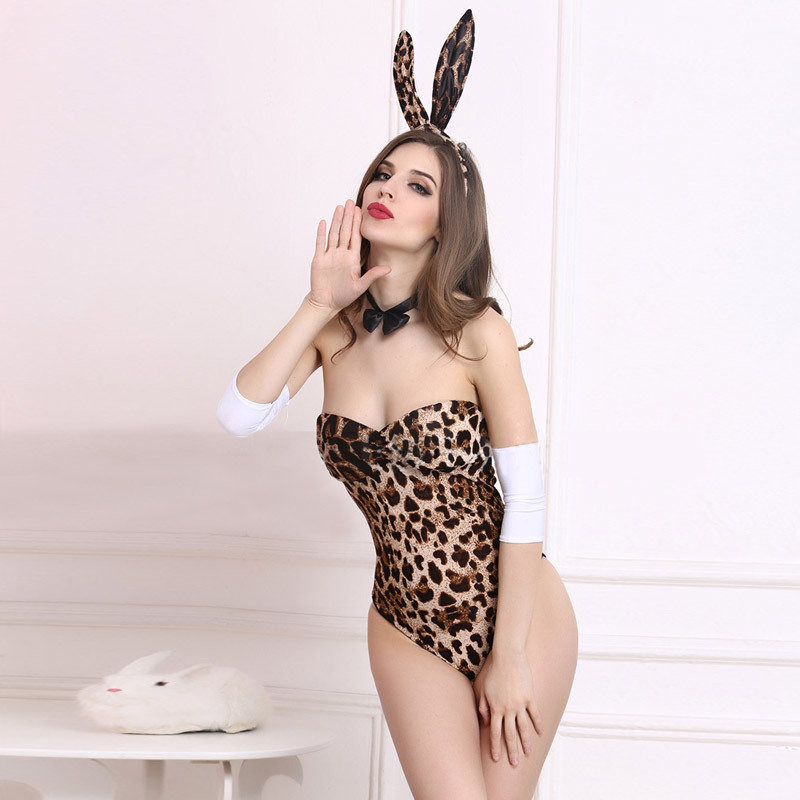Sexy Wild Fantasy Leopard Strapless Teddy Body Suit With Bunny Ears Lingerie Set Rabbit Nightgown Fancy Erotic Sleepwear Women