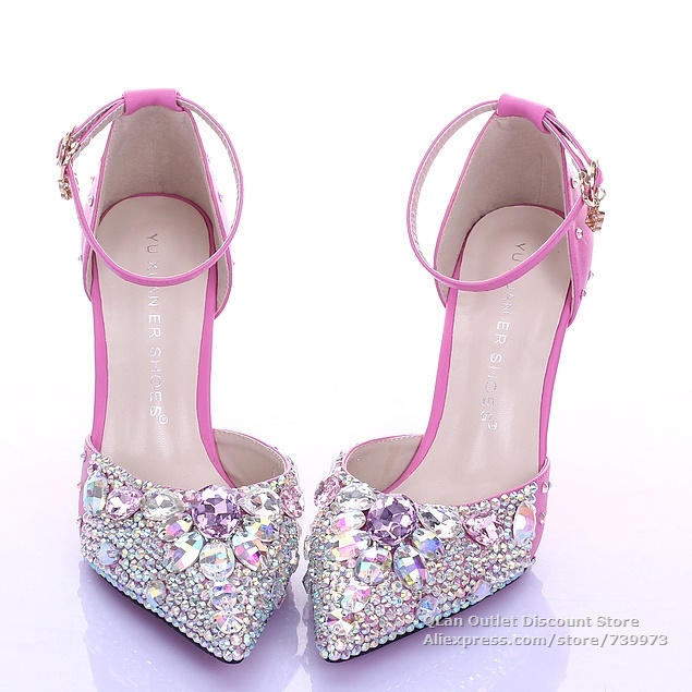 58290639c Bling sexy hot pink wedding sandals rhinestones two piece wedding shoes  pointed toe with ankle strap D orsay high heel QL SJW237