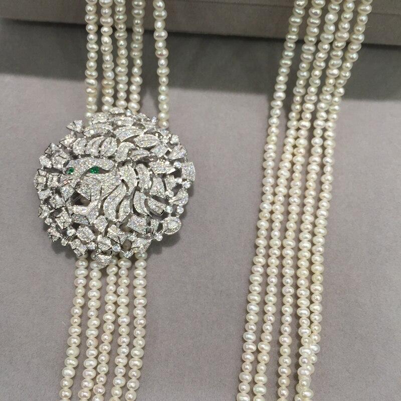 Hommes femmes bijoux tête de Lion broche bijoux résultats connecteurs Top qualité argent avec Zircon cubique livraison gratuite - 3