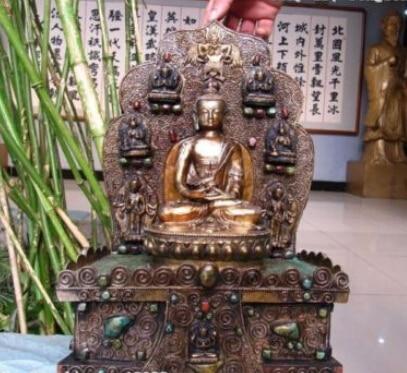 006938 13Tibet Buddhism Bronze Copper inlay Silver turquoise Sakyamuni Buddha Statue006938 13Tibet Buddhism Bronze Copper inlay Silver turquoise Sakyamuni Buddha Statue
