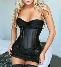 New Womens Black 2pcs Set Overbust Corsets Bustiers Lace Bowknot G string