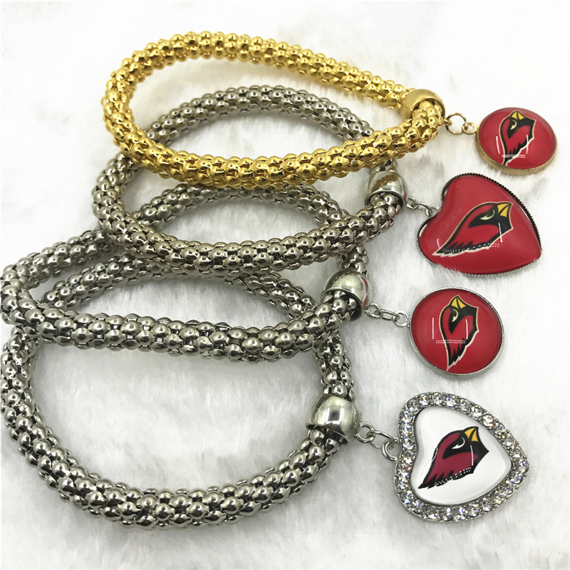 6pcs Football Sports Arizona Cardinals Bracelets Elastic Snake Chain Bracelet&Bangles USA Fans Bracelet Jewelry charms