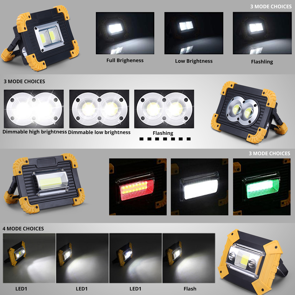 100W Led Portable Spotlight 3000lm Super Bright Led Work Light Rechargeable for Outdoor Camping Lampe Led Flashlight by 18650 4