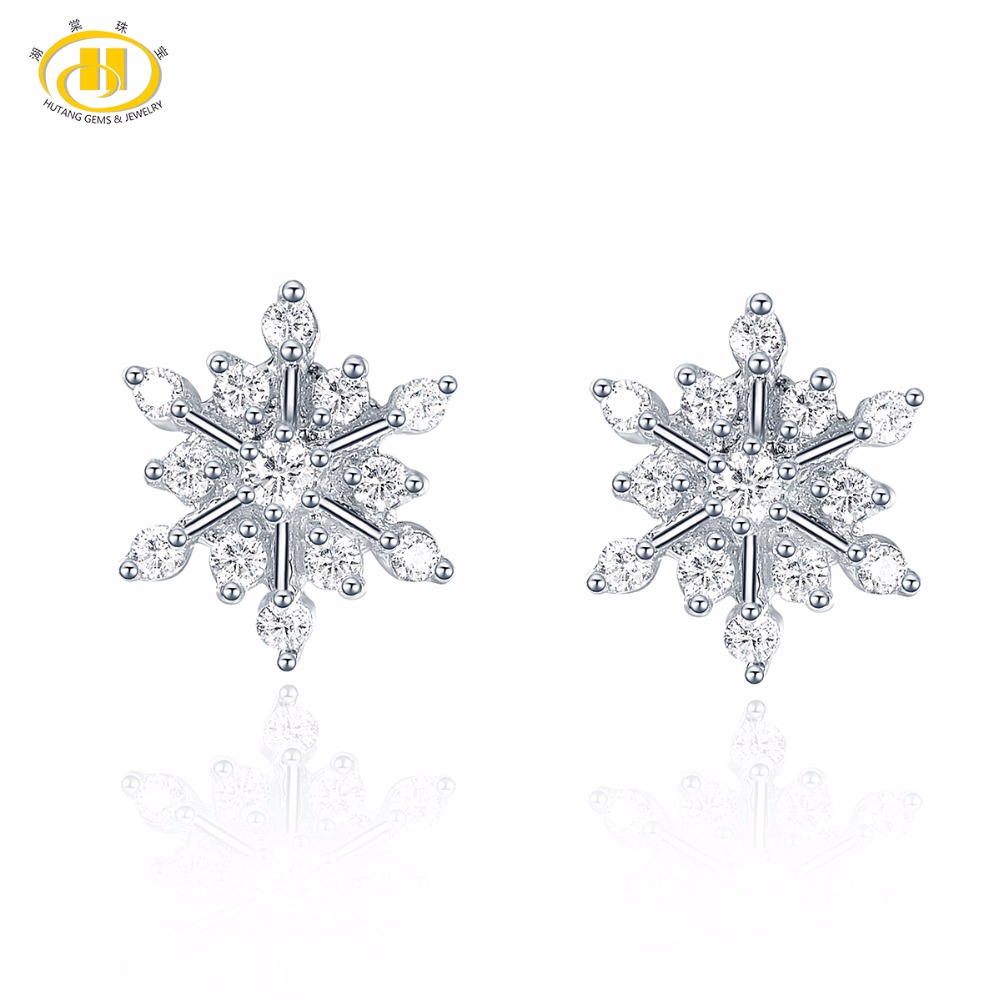 Clever Hutang Similar Diamond Solid 925 Sterling Silver White Snow Earrings Fine Jewelry For Women's Christmas Gift New Arrival