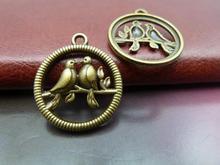 15pcs 22mm Antique Bronze Beautiful Filigree Two Birds Branch Cage Charm Pendant C243